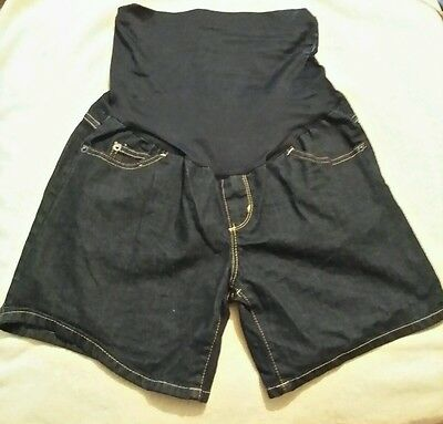 Liz Lange Maternity NWT Blue Denim Jean Shorts Size XSmall 6' Inseam With Panel
