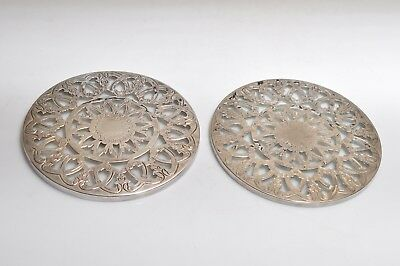 "Vintage 2 Piece Silver Plate Metal Glass Trivets Hot Plates Diameter 6""inches"