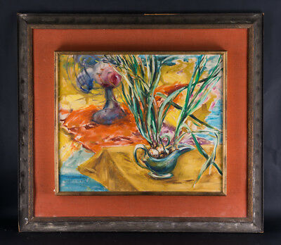"Large Modernist/Fauvist Oil On Canvas ""Tabletop Still Life"""