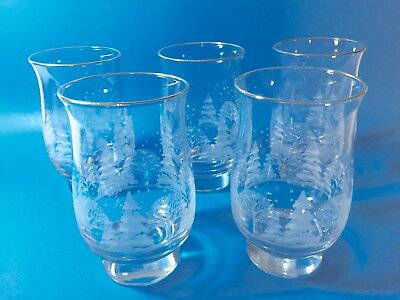 5  Libbey Winter Scene Gold Rimmed Footed Tumbler Glasses Holidays Arby's