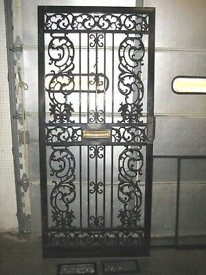 "Vintage Architectural Cast Wrought Iron Storm Security Door  80"" x 35 1/2"""
