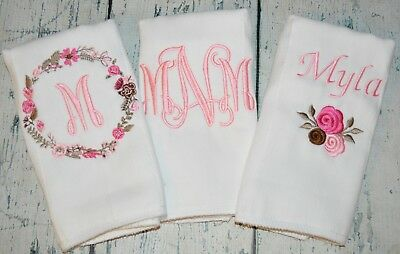 Personalized Baby Girl Burp Cloth Flower Set Monogram Burp Cloths Pinks & Browns