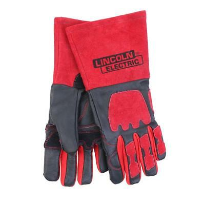 (2-Pack) One Size Fits All Red and Black Premium Leather Welding Gloves