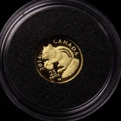 Canada 2014 25 cents Fine Gold coin , The Eastern Chipmunk