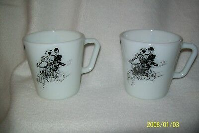 Vintage Pyrex Coffee Cups Lady Gentleman On Bicycle 10 Oz Mug Cup 1410