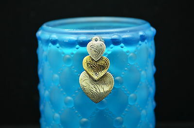 Silver & Gold Plated Three Etched Hearts Design Pendant Charm #15114