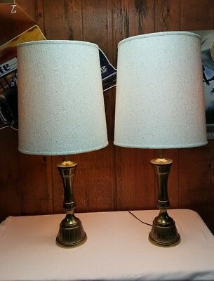 3 way switch table lamps fabric shade vintage stiffel solid brassbronze table lamps woriginal shade way switch