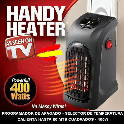 HANDY HEATER Calefactor portatil ESTUFA Electrica  TV 400W baño salon habitacion