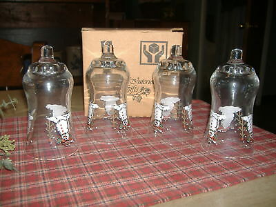 Set of 4 Home Interiors HOMCO Peg Votive Cups Candle Holders Snowman Tree MIB!!