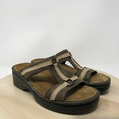 cff2c539ae9a1 NAOT Women Brown   Cream Leather Open Toes Sandals Sz 6 US 37 EU