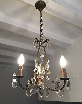 Antique French Brass Chandelier 3 Arm Ceiling Light Crystal Prisms