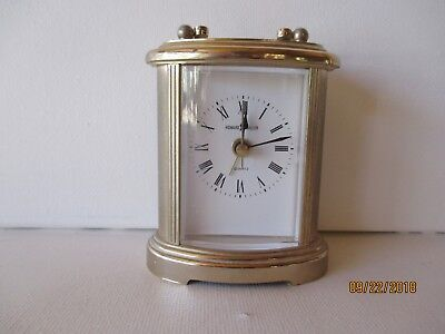 Vintage Howard Miller Brass Table Clock W/handle - Working - Vg - Free Shipping