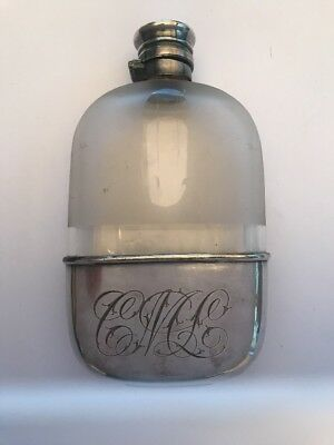 Gorham Silver Co Hip Flask Glass Monogrammed Engraved