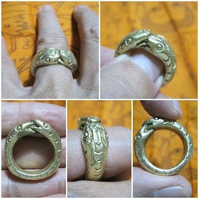 Brass Ring 1999 Size 9 LP Oim & 2 Snakes Thai Rare Amulet A21