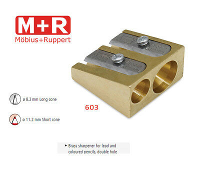 Mobius and Ruppert (M+R) 0603 - DOUBLE WEDGE CONE SHAPED BRASS Pencil sharpener