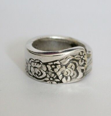 Antique Vintage - Silver Spoon Ring - Handcrafted Antique Teaspoon - Size T¼
