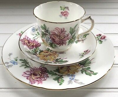 Hammersley Autumn Glory Mums Bone China Tea Cup Snack Plate and Saucer Trio Set