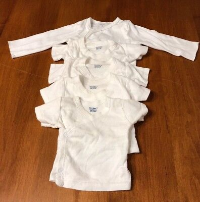 Lot Of White Side Snap T Shirts Gerber/carters 0-3 And 6 Months