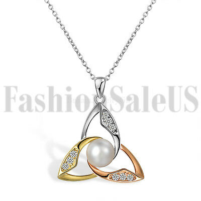 925 Silver Celtic Irish Knot Pearl Pendant Lucky Necklace for Girlfriend Mom