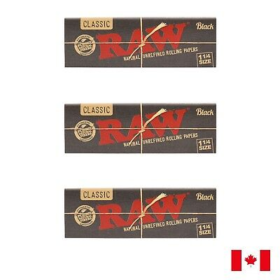 RAW Classic Black 1 1/4 Natural Unrefined Ultra Thin Rolling Papers - 3 Booklets