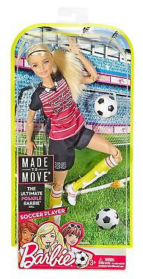 """Brand New Barbie Made To Move """"soccer Player Blonde"""" Articulated 22 Joint"""