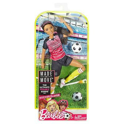 """Brand New Barbie Made To Move """"soccer Player Ethnic""""jointed Articulated 22 Joint"""