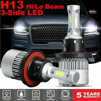GTP H13 9008 3-Side LED Headlight Kit 16000LM High/Low Beams Bulbs 6000K White
