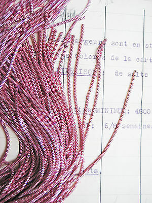 AUTHENTIC FRENCH Vintage Rose Pink Metal Thread Check Purl Bullion Embroidery