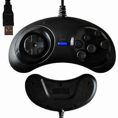 USB 6 Button Wired Sega Genesis / Mega Drive Controller GamePad for PC Windows