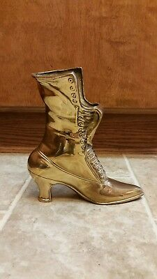 Vintage Large Solid Brass Ladies Victorian Boot. Heavy Duty. Nice piece