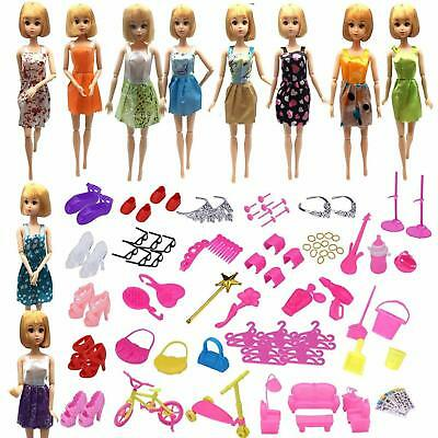 118 Pcs Barbie Doll Clothes Gown Outfits Accessories Girl Gift Huge Lot Party HQ