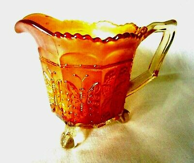 Vintage Fenton Marigold Carnival Glass 3 Footed Pitcher