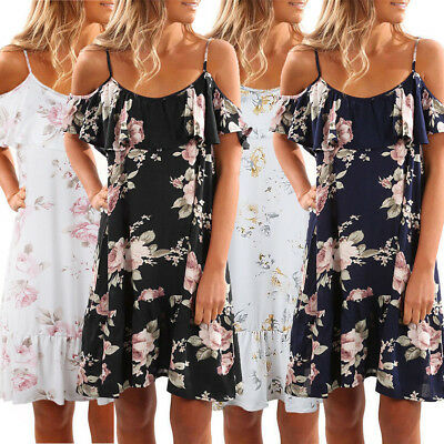 Boho Womens Summer Cold Shoulder Floral Ladies Casual Loose Mini Dress Plus Size