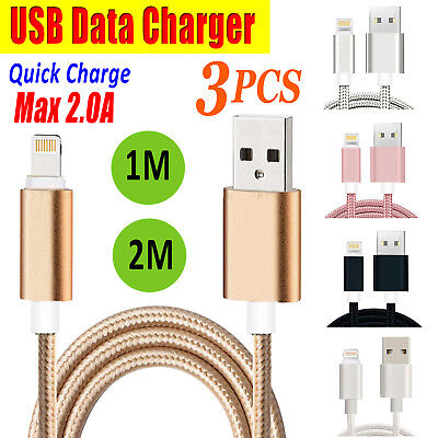 3pcs USB Data Charger Sync Cable Charging Cord Lead 1M 2M For iPhone 7 6 5 Plus