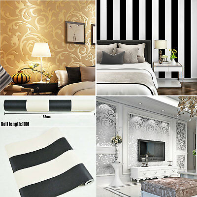 10M Gold / Silver Wall Paper Roll Modern Embossed Feature 3D Textured Wallpaper