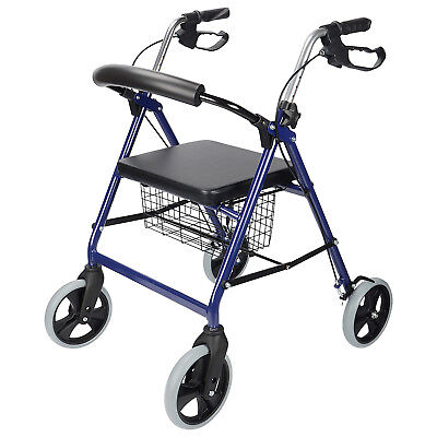 4-Wheel Walker Rollator With Fold Up Removable Back Support W/Soft Padded Seat