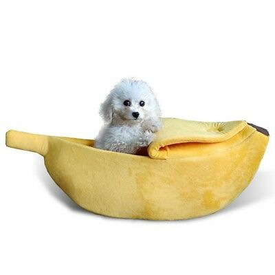 Small Pet Dog Cat Bed Banana Shape Fluffy Warm Soft Plush Home Bed House Toy