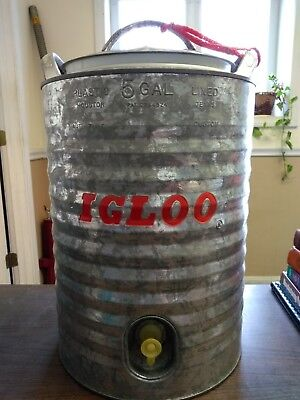 NEW - Vintage Galvanized 5 Gallon Plastic Lined Igloo Water Cooler - RARE