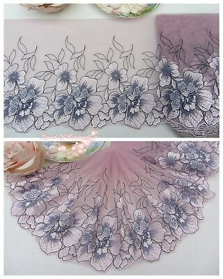 "7""*1Y Embroidered Tulle Lace Trim~Quartz Pink+Deep Purplish Grey+White+Black~"