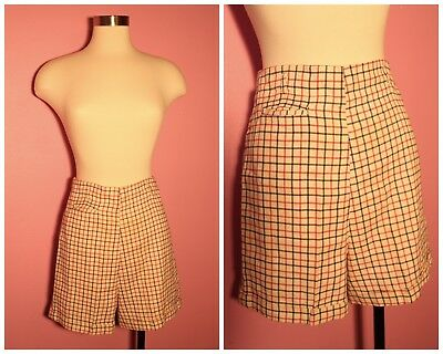 "1940s Cuffed Plaid Shorts Size XS 24"" Waist Pin Up Rockabilly"