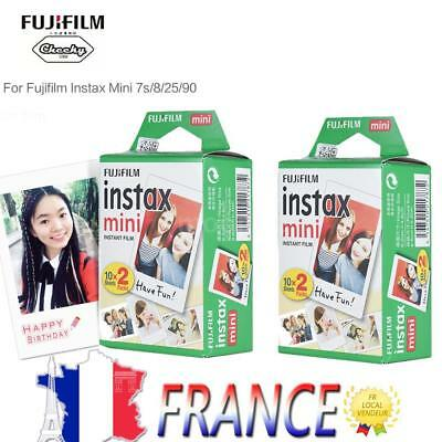 40 Photos Fuji Instax Mini Film Blanc Pour Fujifilm 90 8 8s 7s 70 50 25 Polaroid
