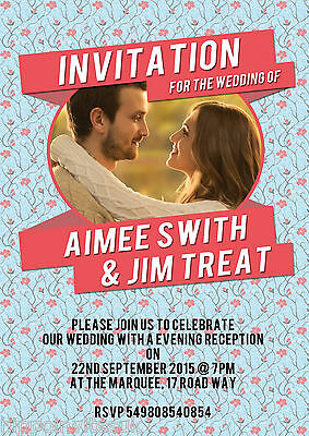 Personalised Photo Invite Wedding Evening Day Invitations x 12 +envs H1217