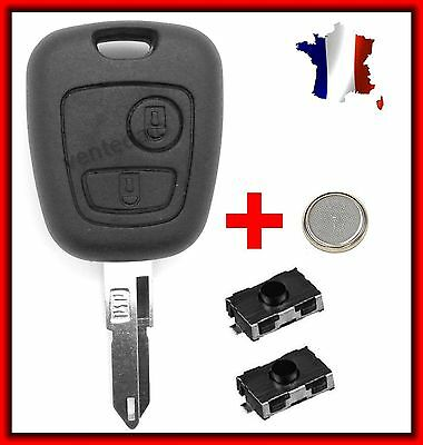 Plip Shell Key Peugeot 106 206 206+ 206CC 306 107 207 307 + 2 Switches+ Battery