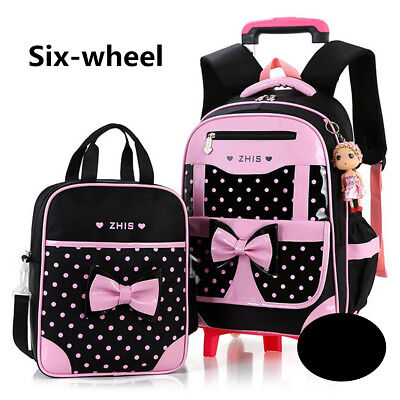 2Pcs Kids With 2/6 Wheels Trolley Backpack Girls Children School Bag Removable