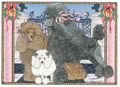 Poodle Christmas Card 5 x 7 with Envelope