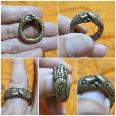 1999 Size 9 Brass Ring LP Oim & 2 Snakes Thai Rare Amulet A21-O