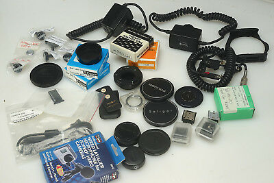 "WHOLESALE RETAIL ""Camera Store "" Mixed Lot Caps Remote Cables Mic Adapters AS-IS"