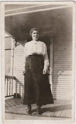 Antique RPPC Woman on Porch White Blouse Dark Skirt Photo Postcard 1915-30