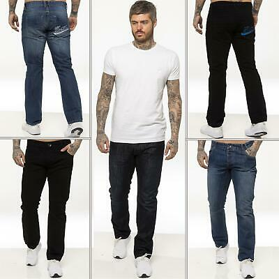 Enzo Mens Designer Straight Leg Jeans Regular Fit Denim Pants All Waist Sizes