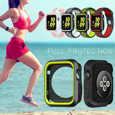 iWatch Case Cover for Apple Watch Series 4 3/2/1 Sport Silicone Protect 40 44mm